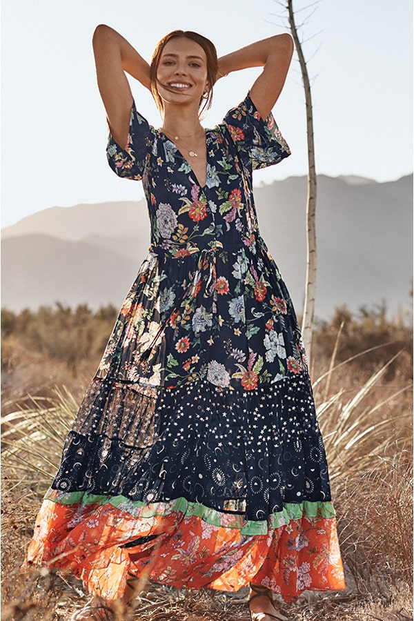 NARCISO MIXED MAXI DRESS