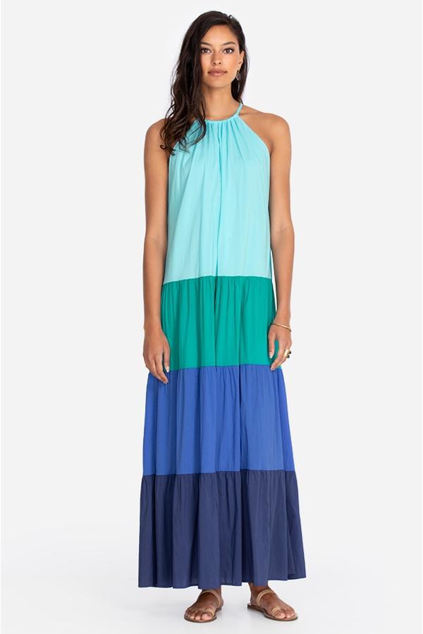 ZARA COLOR BLOCK MAXI DRESS