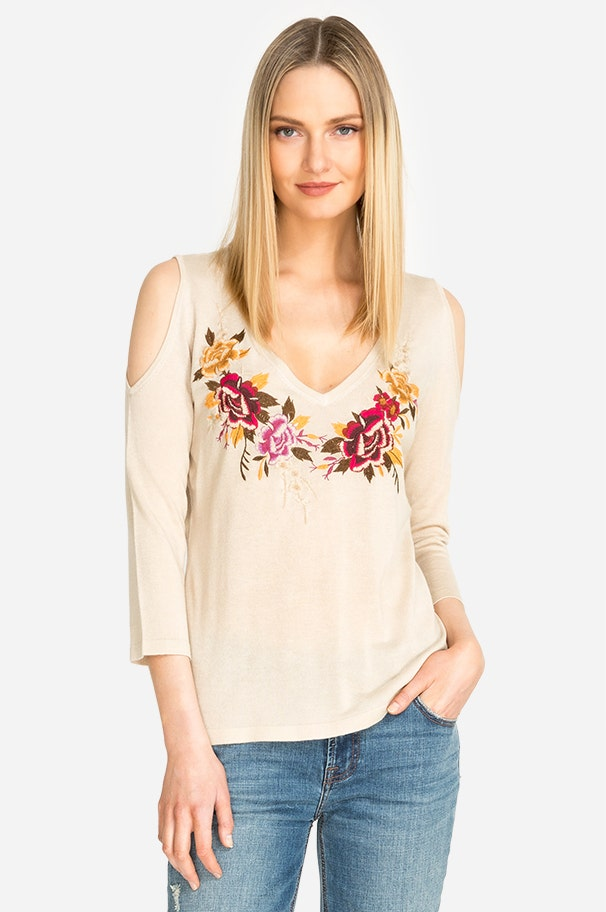 b3618e1c920 COLD SHOULDER EMBROIDERED TOP ...