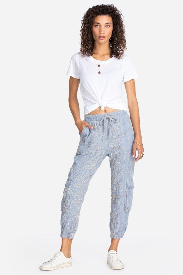 PEACHES ALL OVER EMBROIDERED PANT