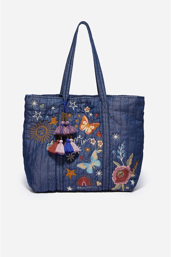 DENIM QUILTED TOTE