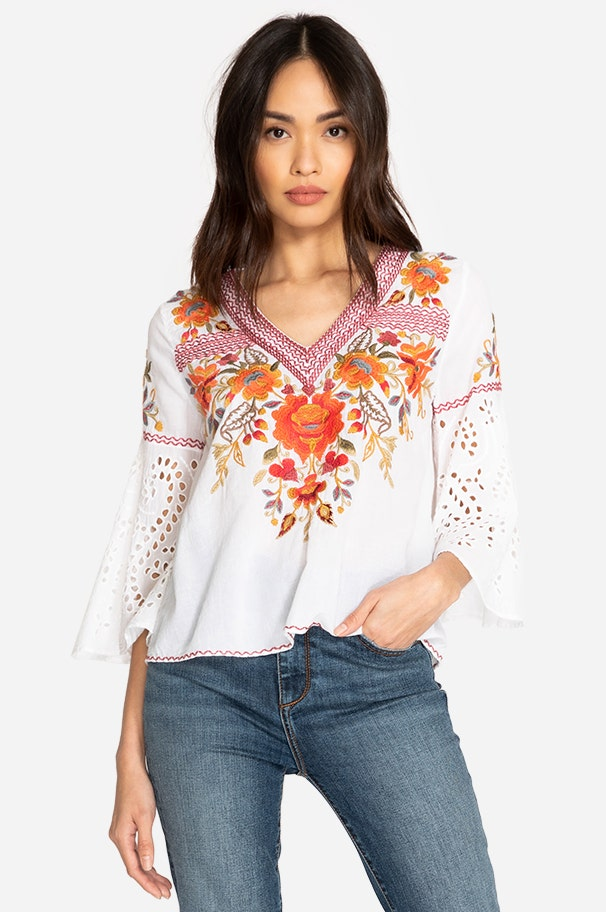 Johnny Was Patch Button Down Printed  Blouse  C16718 New Boho Chic