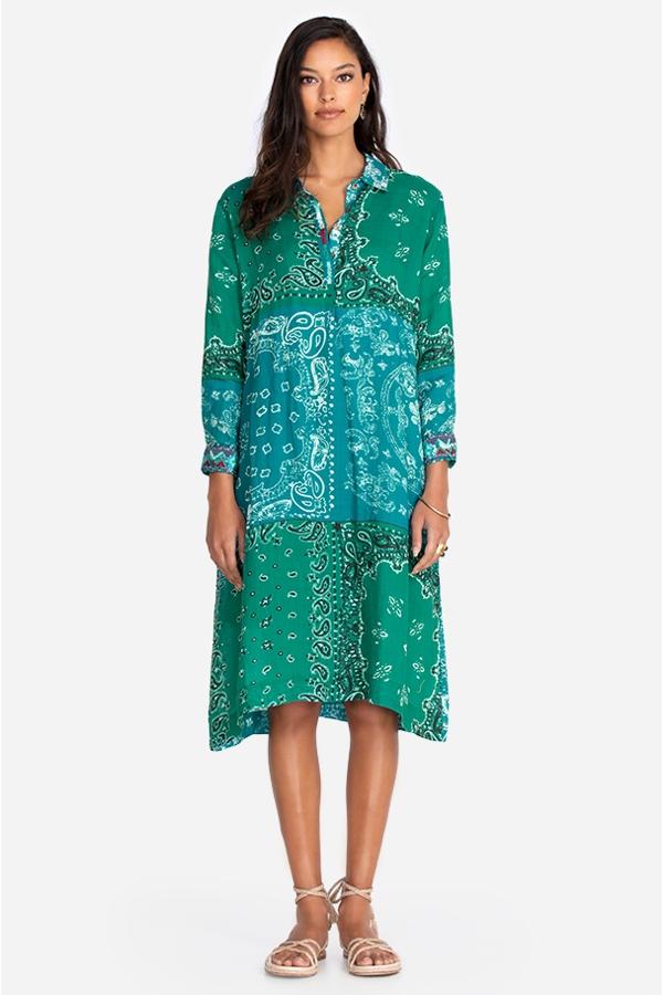 BANDANA HENLEY SHIRT DRESS