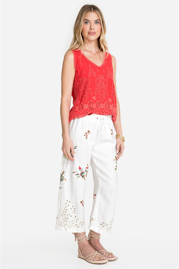 LIDIA CROPPED HEAVY LINEN PANT