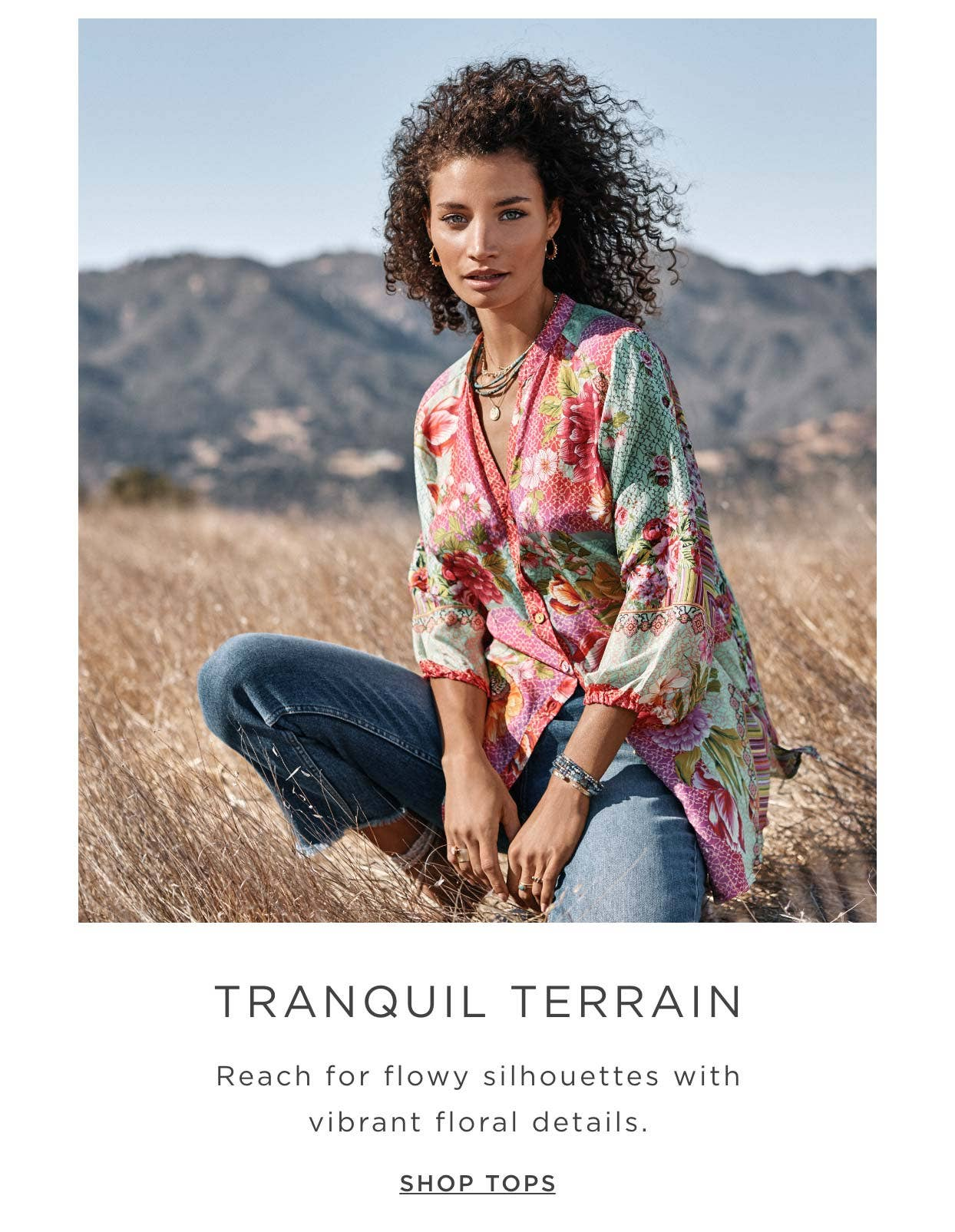 Tranquil Terrain - Reach for flowy silhouettes with vibrant floral details - Shop Tops