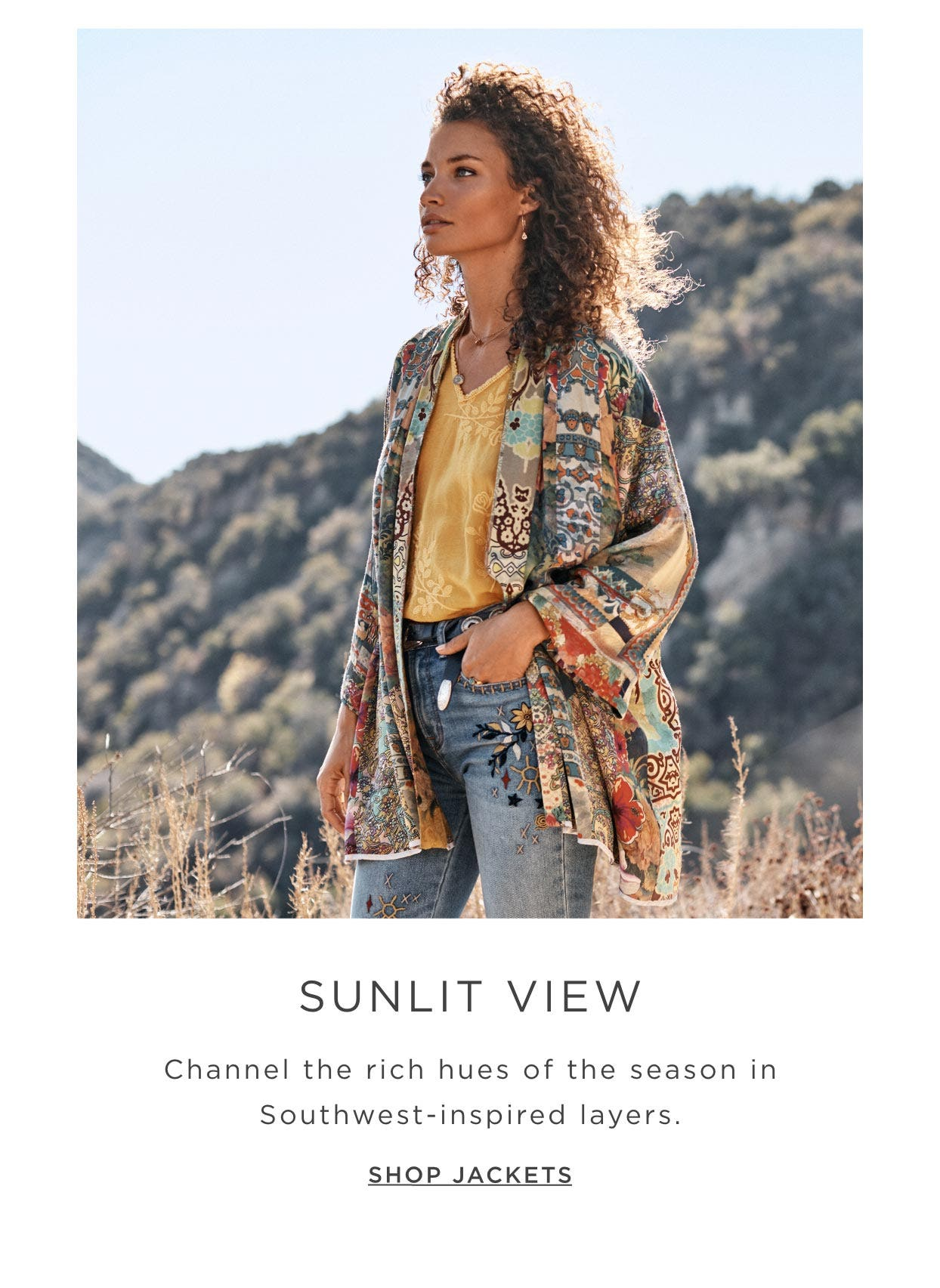 Sunlit View - Channel the rich hues of the season in Southwest-inspired layers - Shop Jackets