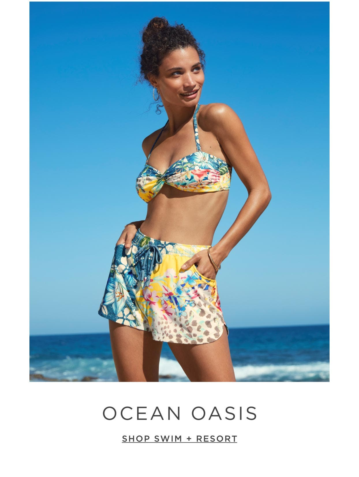 Ocean Oasis – We float freely in this little piece of paradise as we wander the sandy shores. Shop Swim + Resort