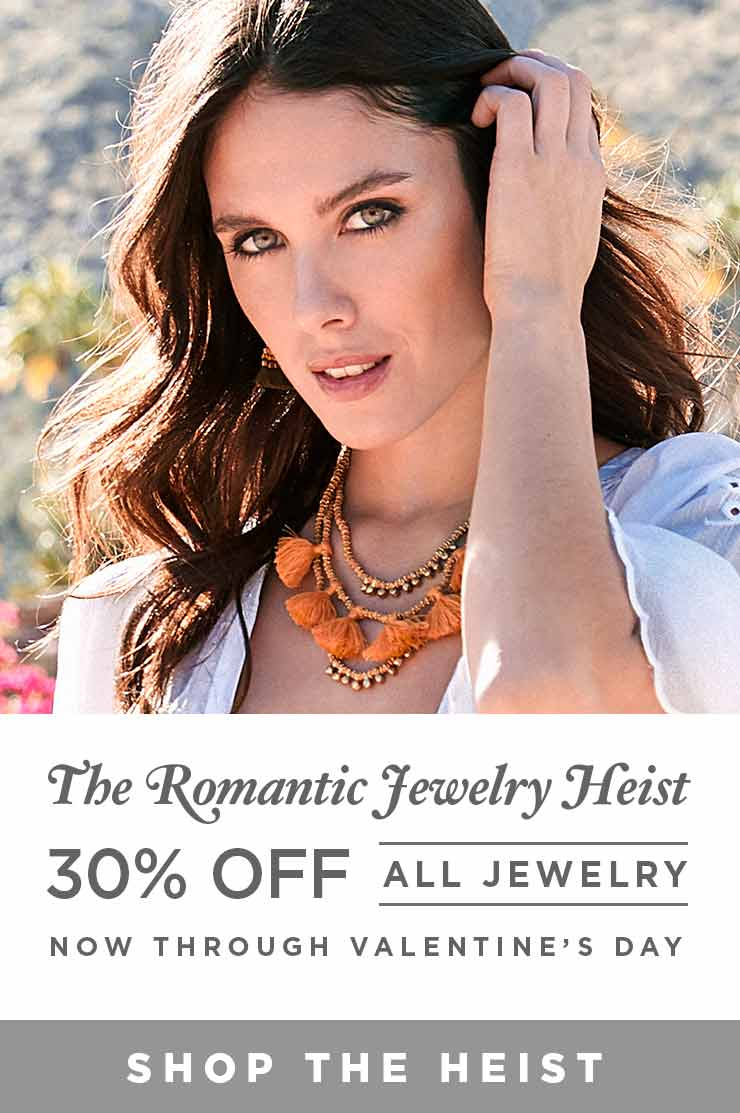 The Romantic Jewelry Heist - 30% off all jewelry now through valentine's day - Shop the Heist
