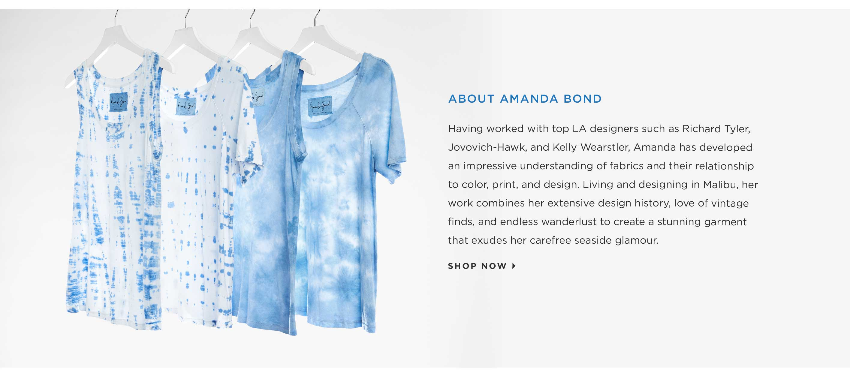 About Amanda Bond - Having worked with top LA designers such as Richard Tyler, Jovovich-Hawk, and Kelly Wearstler, Amanda has developed an impressive understanding of fabrics and their relationship to color, print, and design. Living and designing in Mali