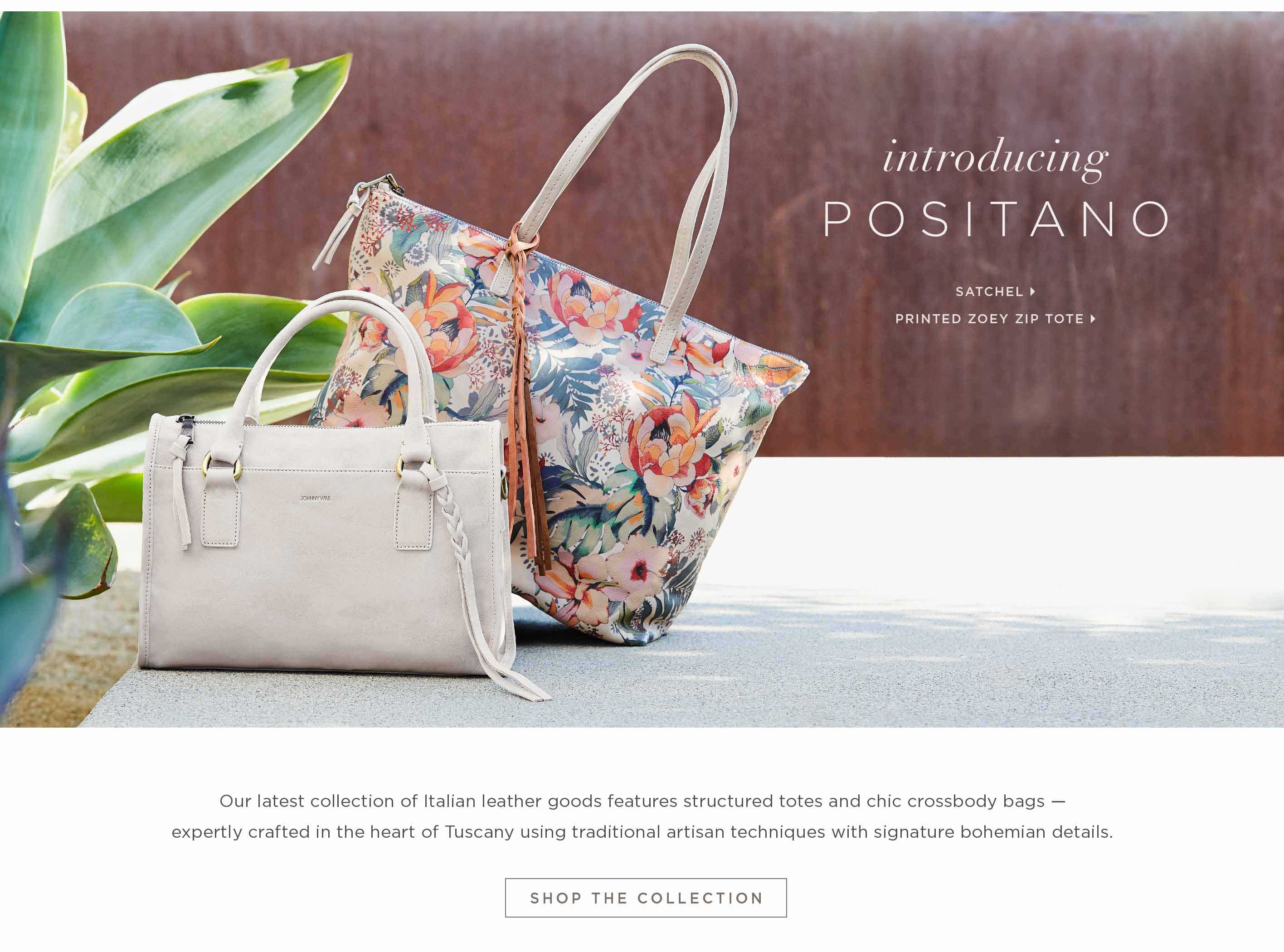 Introducing Positano - Satchel, Printed Zoey zip Tote - Our latest collection of Italian leather goods features structured totes and chic crossbody bags — expertly crafted in the heart of Tuscany using traditional artisan techniques with signature bohemi