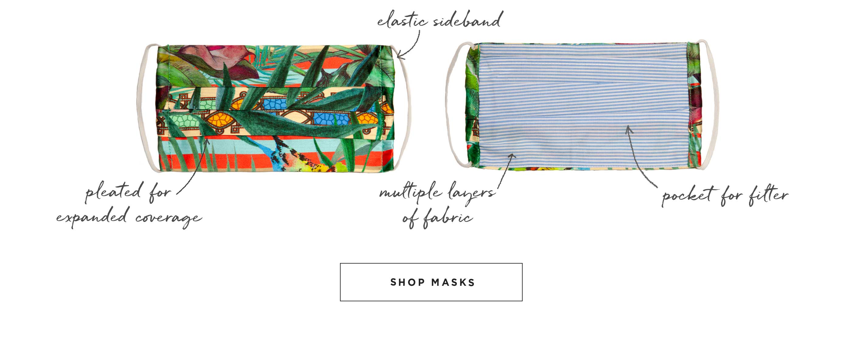 Elastic Sideband, Pleated for Expanded Coverage, Multiple Layers of Fabric, Pocket for Filter - Shop Masks